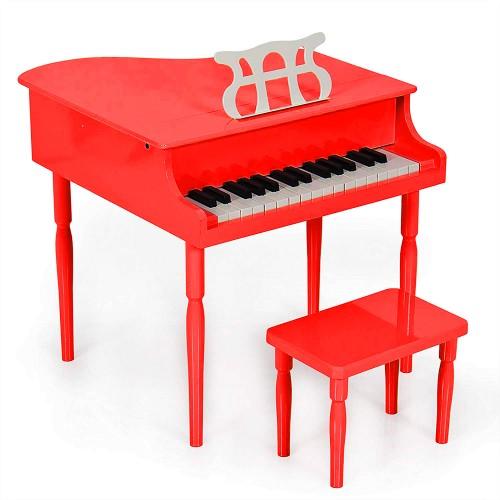 Çocuk için Ahşap Piyano BP30RD nota sehpası ve tabure Hediyeli